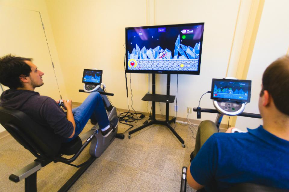 Researchers with Exergaming equiptment