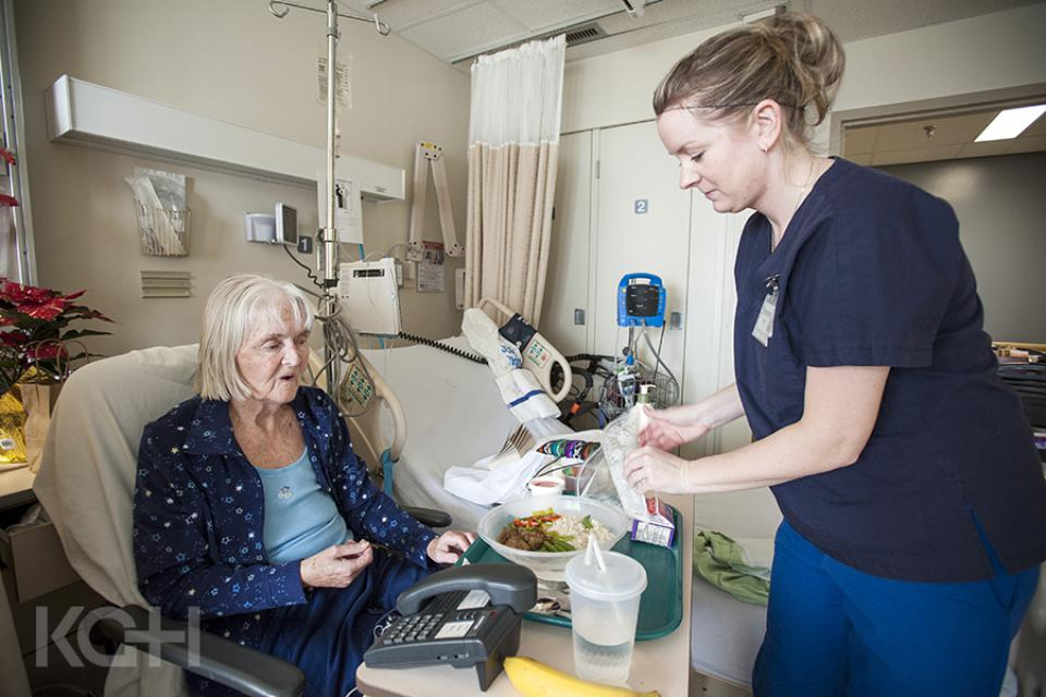 Patients receiving meals that they have ordered.