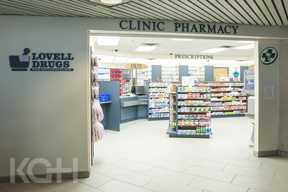 The Lovell Drugs Clinic pharmacy located in the main lobby of KGH