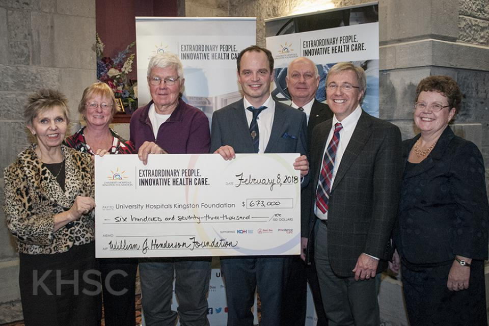 The W.J. Henderson Foundation makes a significant donation to support cardiac research at KHSC and Providence Care