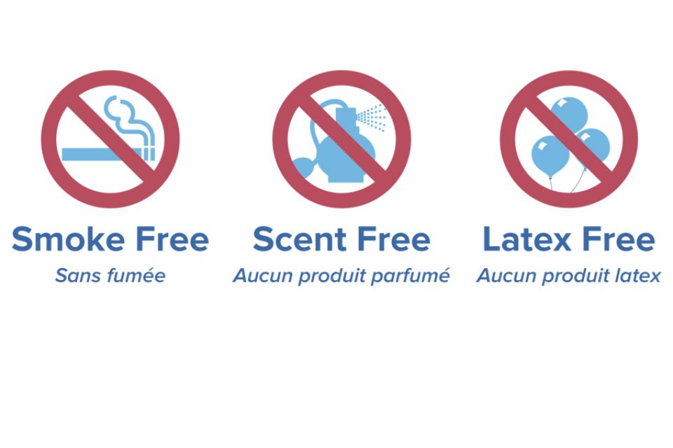 KGH smoke free, scent free and latex free symbols.