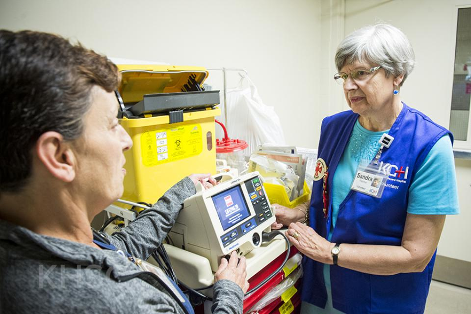 image of defibrillator donated by KGH Auxiliary
