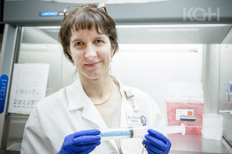 Dr. Elaine Petrof in the laboratory at KGH