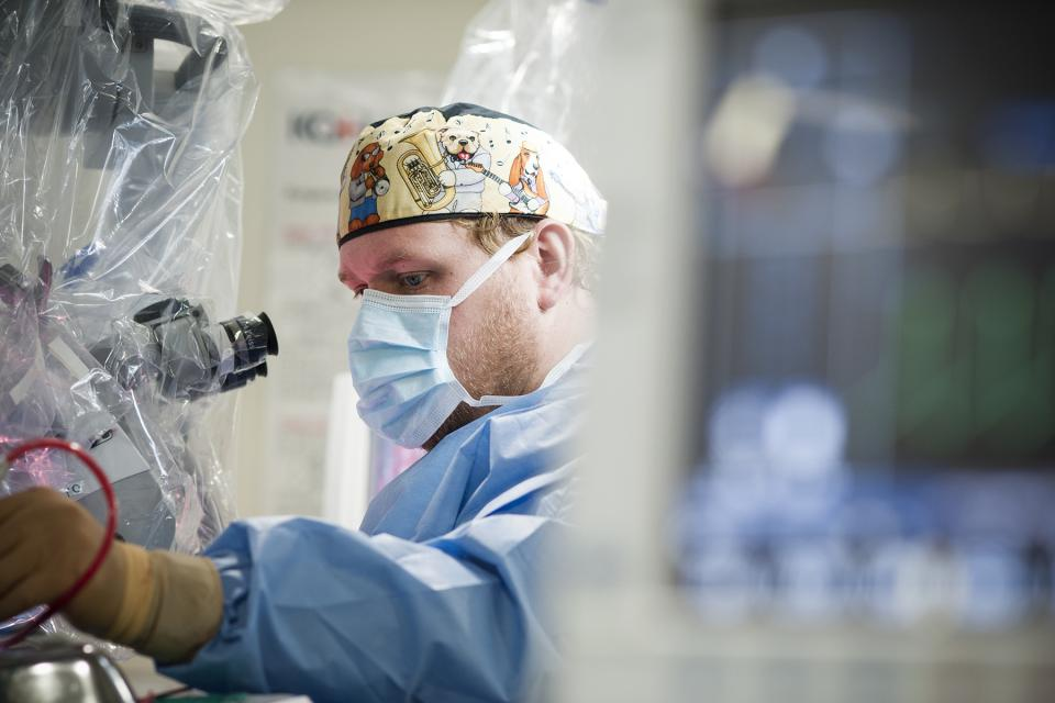 Dr. DJ Cook in an operating room at Kingston Health Sciences Centre