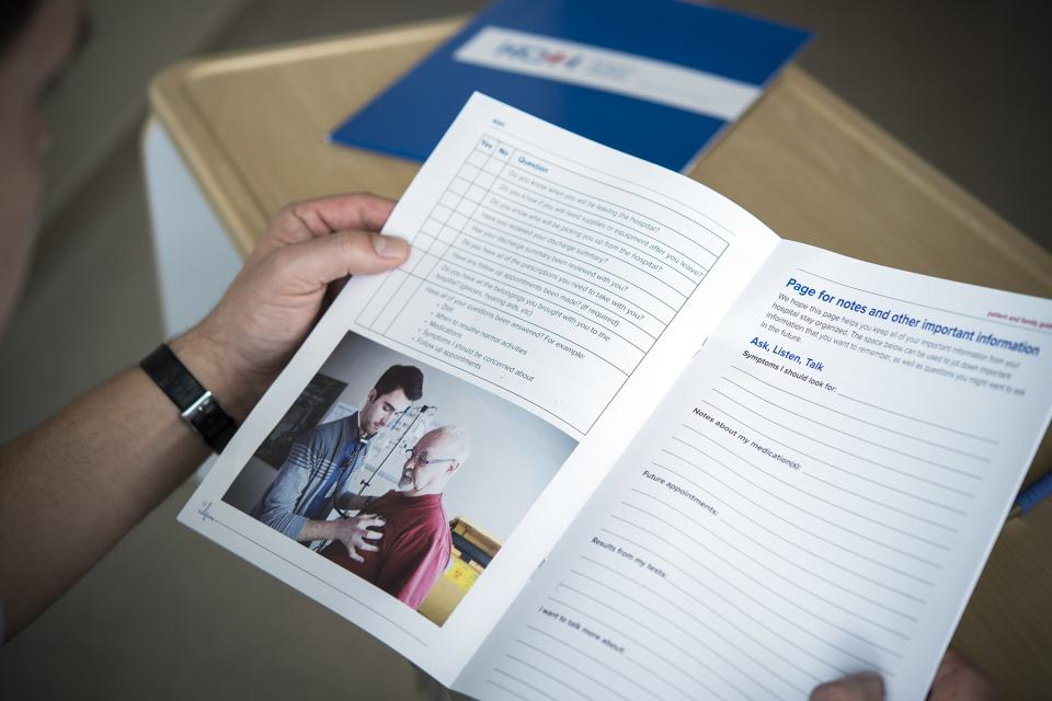 The new guide has spaces set aside for patients and families to write down their notes and questions.
