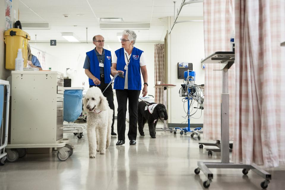 KHSC volunteers walking inside the hospital