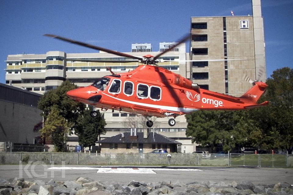 Ornge helicopter landing at KGH.