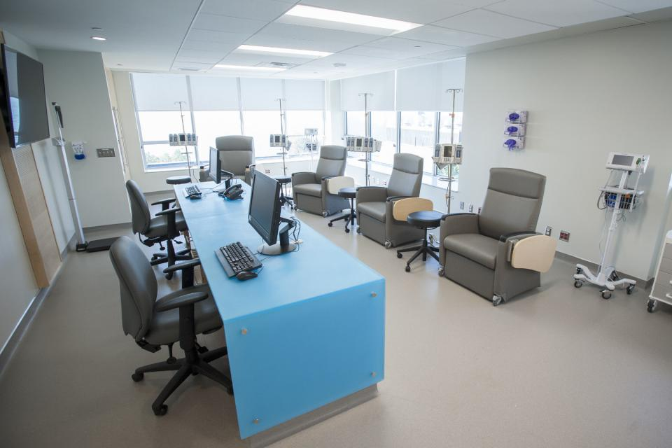 Infusion area, part of the Clinical Investigation Unit, W.J. Henderson Centre for Patient-Oriented Research.