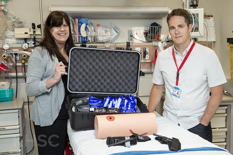Compressing, packing and applying a tourniquet to a wound are all part of Stop the Bleed training provided by KHSC Trauma Program staff including Cathy Dain, Advanced Practice Nurse, and Dr. Chris Evans, Program Medical Director.