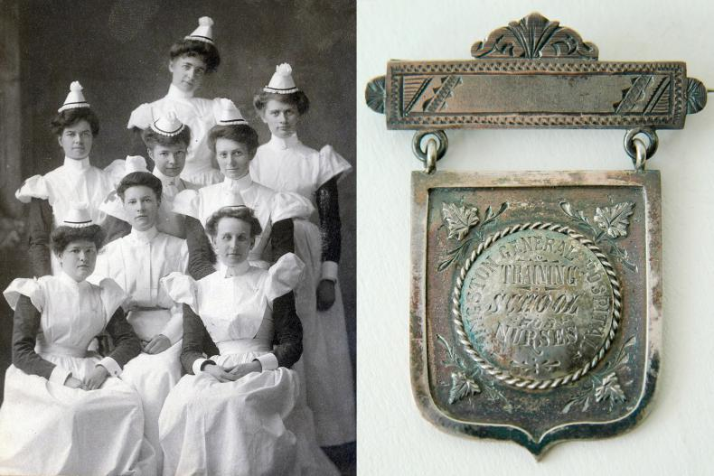 Members of the classes of 1905 and 1906 were among some of the first graduates of the KGH School of Nursing. The young women spent their own money to capture this moment for posterity. (Photo: KGH Archives) (Right) KGH School of Nursing Medal, 1888. (Photo: Museum of Health Care)