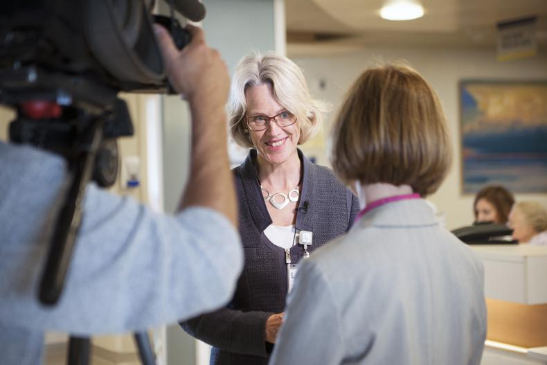 KGH President and CEO is interviewed by a CBC crew from New Brunswick reporting on the advances made in patient and family centred care at KGH.