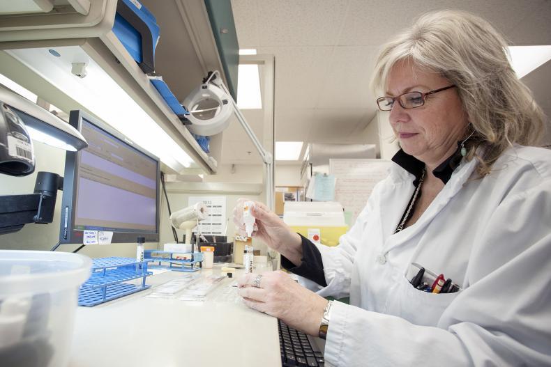 Sam Miller, Medical Lab Technologist perpares samples for testing inside the microbiology laboratory at Kingston General Hospital.