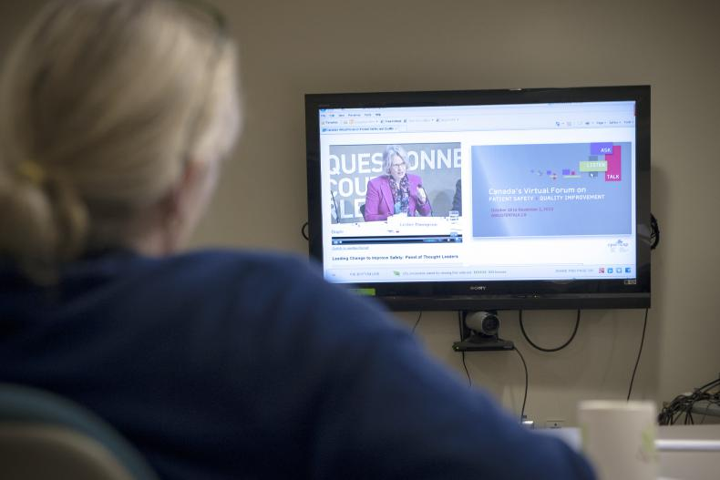 CEO Leslee Thompson took part in the week's first Virtual Forum on Monday. The forums are being broadcast via the internet and will be running all week in the Kidd 9 Conference Room for staff.