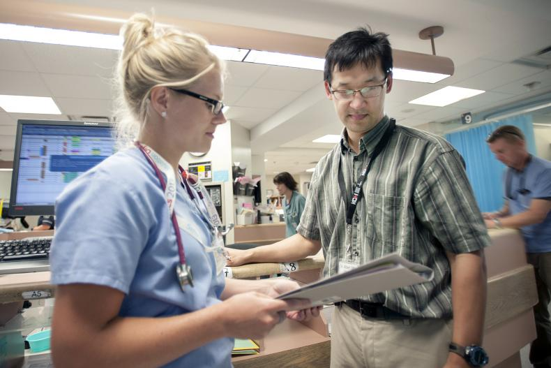 Jenilee Feddema, RN, and Dr. Albert Jin in our Emergency Department where specialized stroke care often begins for patients.