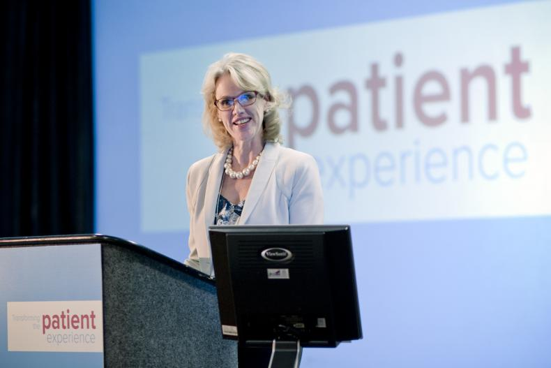 KGH President & CEO addresses delegates at the KGHConnect 2013 Knowledge Exchange: Transforming the Patient Experience event after the keynote address. The event was hosted by Kingston General Hospital in Kingston, Ontario, Canada.
