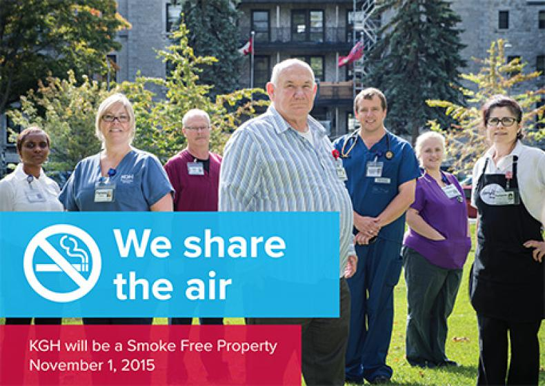 These posters have been put up around the hospital to remind people that there is now no smoking at KGH