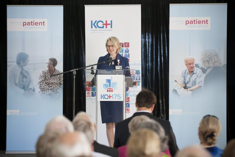 KGH President and CEO Leslee Thompson makes a few comments and thanked the event sponsors, Lovell Drugs, Honeywell and KCCU for their support.