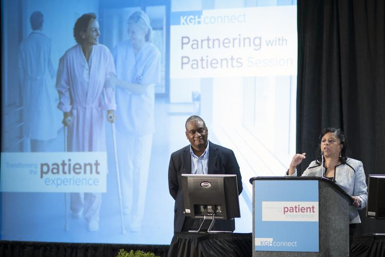 Roslyn Marshall (R) and Anthony Bernard Roberson (L) from Georgia Regents Health System speak to delegates at the KGHConnect 2013 Knowledge Exchange: Transforming the Patient Experience hosted by Kingston General Hospital in Kingston, Ontario, Canada.