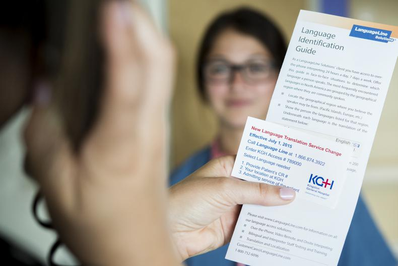 Contact cards like this one, will be given to all areas of the hospital so that staff can quickly access KGH's new translation service.