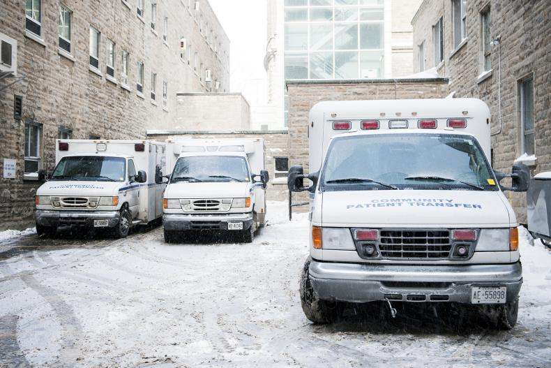 A few vehicles from the Community Patient Transfer Group parked at KGH to facilitate non-urgent patient transfers.