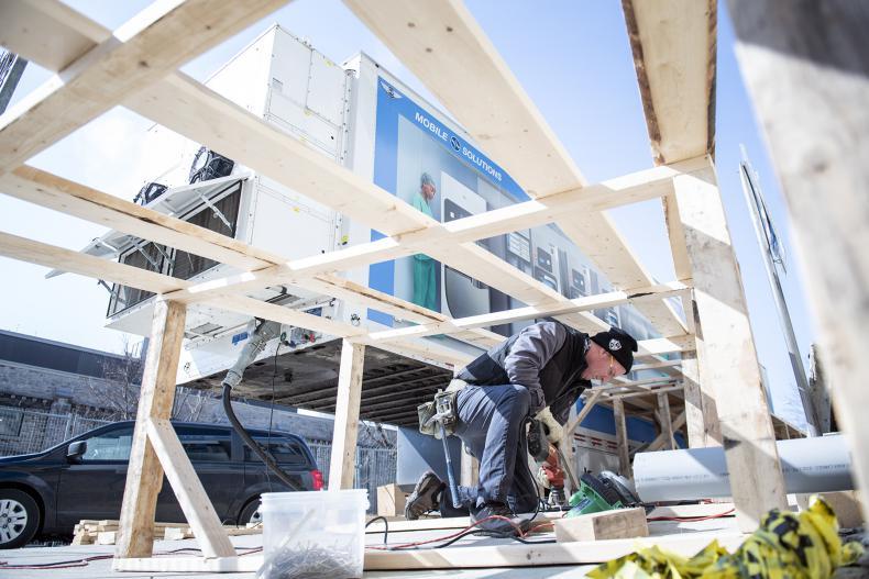 carpenter working on ramp