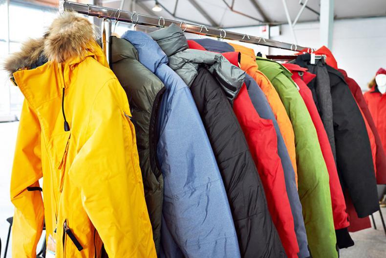 Winter coats on a rack