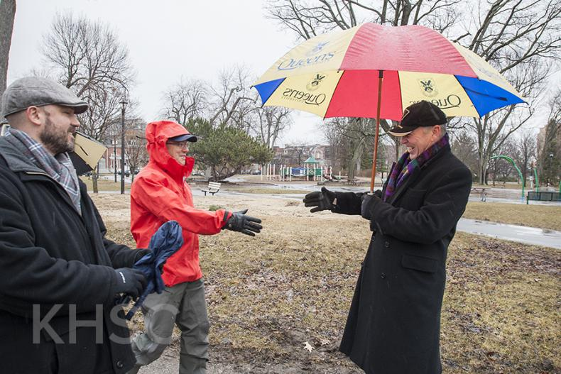 Dr. Pichora and Jim Flett greet each other in City Park, a mid-way point between the two hospitals, for a celebration to mark the integration of KGH and HDH.