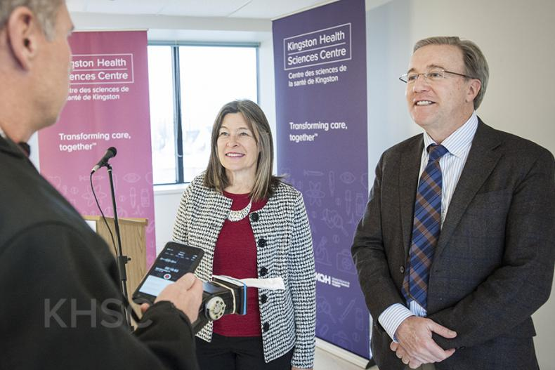 MPP Kiwala and KHSC President and CEO Dr. David Pichora speak to the media after the announcement
