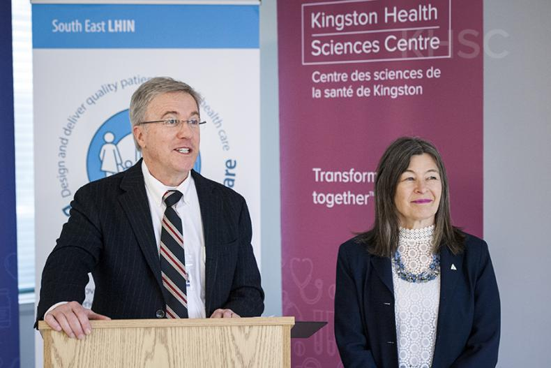 KHSC President and CEO Dr. David Pichora and MPP Kiwala speak to the media