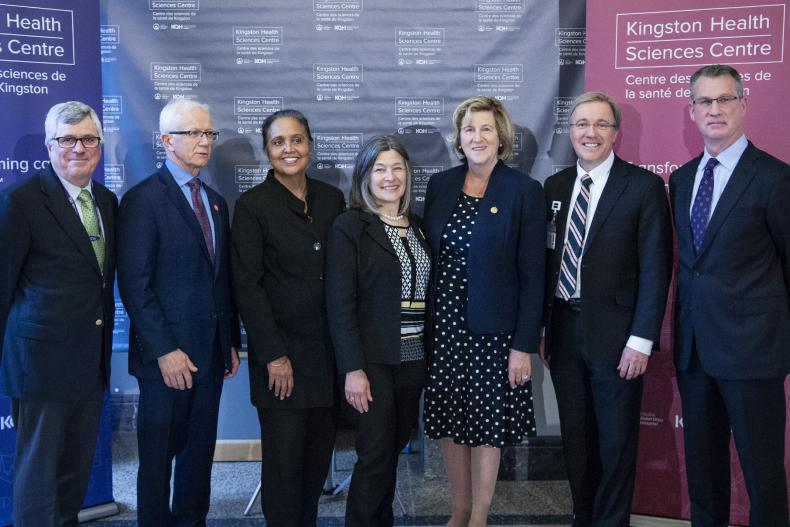 (L to R) Providence Care Board Chair Brian Devlin, SELHIN CEO Paul Huras, SELHIN Board Chair Hersh Sehdev, MPP Sophie Kiwala, Minister Helena Jaczek, KHSC CEO Dr. David Pichora, KHSC Board Chair David O'Toole