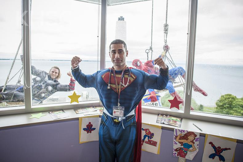 Staff on the pediatrics unit at the KGH site join in the fun and show their superhero colours.