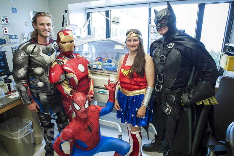 Superheroes from Elite Window Cleaning bring smiles to our youngest patients at our KGH site.