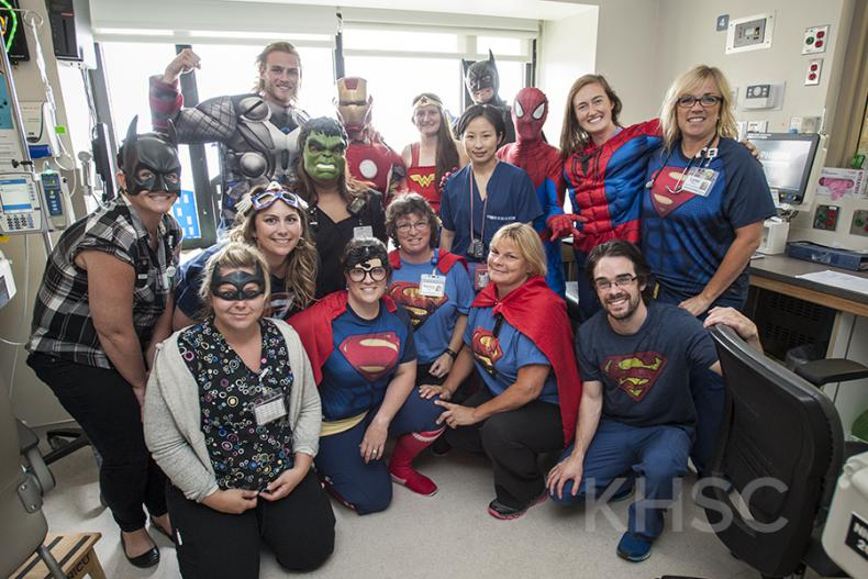 Staff on the NICU at our KGH site join in the fun and show their superhero colours.