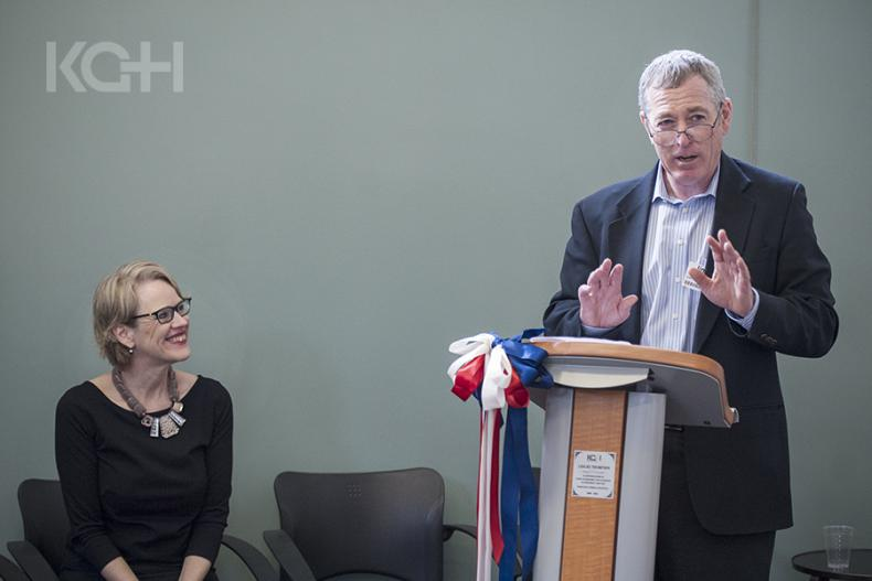 Interim President and CEO, Jim Flett addresses KGH staff during a brief farewell event at KGH.