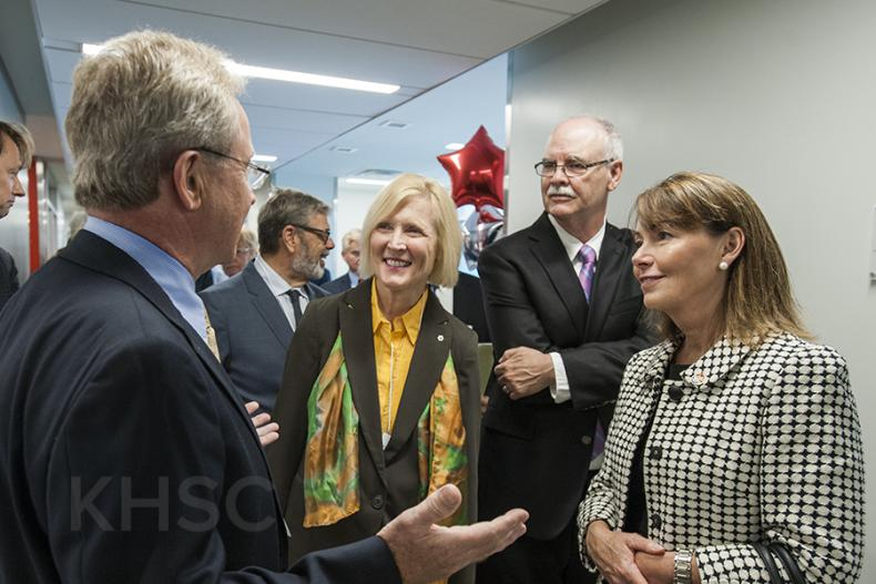 KHSC VP Roger Deeley leads a tour of the new centre for Dr. Roseann Runte, CEO of CFI, Dr. John Fisher Interim Vice Principal (Research) at Queen's University and City Councillor Laura Turner