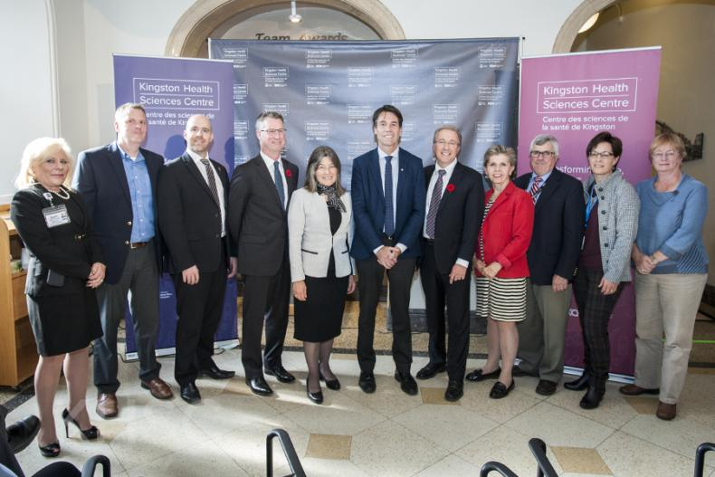 Minister of Health and Long-Term Care Dr. Eric Hoskins, MPP Sophie Kiwala and KHSC President and CEO Dr. David Pichora, pose with honourded guests following the event.