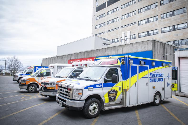 ambulances parked at the KGH site emergency department