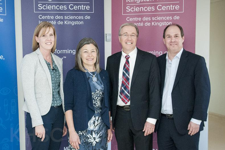 (L to R) Krista Well Pearce - Providence Care, MPP Sophie Kiwala, Dr. David Pichora - President and CEO KHSC, Nicholas Vlacholias - President and CEO Brockville General Hospital