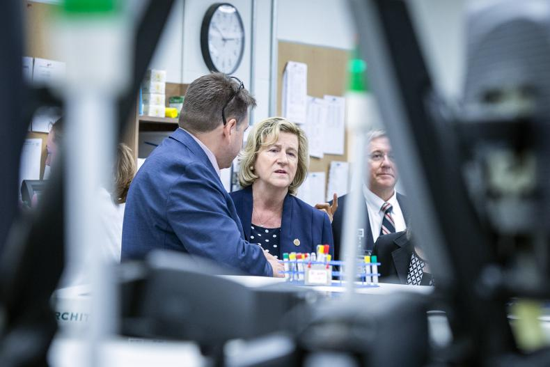 Chief Information Officer Troy Jones tours Minister Jaczek through our Clinical Laboratory
