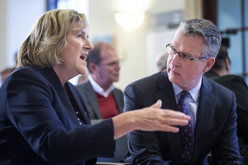 Minister Jaczek speaks with KHSC Board Chair David O'Toole
