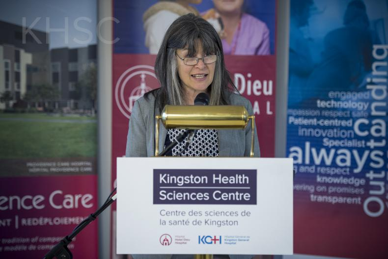 Kingston and the Islands MPP Sophie Kiwala speaking to the media and guest during the funding announcement.
