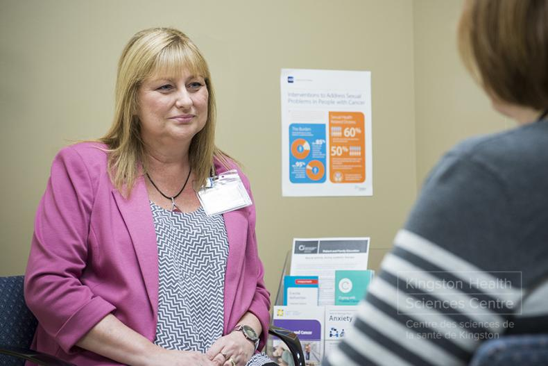 Janet Giroux, Nurse Practitioner and co-lead of the clinic, meets with patients twice a month