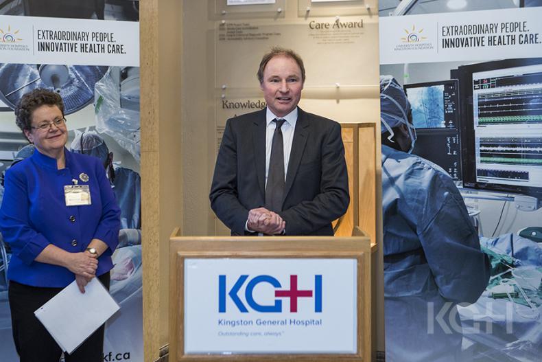 KCCU CEO Jon Desseau announces a $60,000 donation for the KGH lab