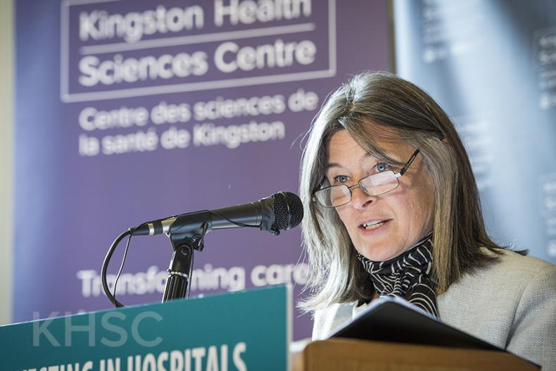 MPP Sophie Kiwala speaks to the media and guests about the Provincial Government and the Ministry of Health and Long-Term Care's continued support of patients and families in Southeastern Ontario.