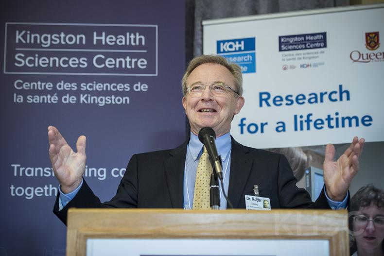 Dr. Roger Deeley, Vice-President of Health Sciences Research at KHSC and President of the KGHRI speaks during the grand opening