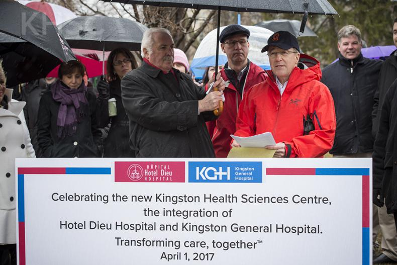 (L to R) Patient Experience Advisor Josef Amann, KHSC Board Chair David O'Toole and KHSC CEO Dr. David Pichora speak during a celebration marking the HDH and KGH integration in City Park on March 31, 2017