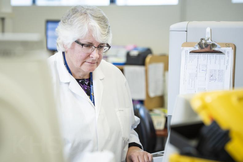 Senior Hematology Technologist Suzanne Torgerson, is being recognized for her 45 years of service with KHSC