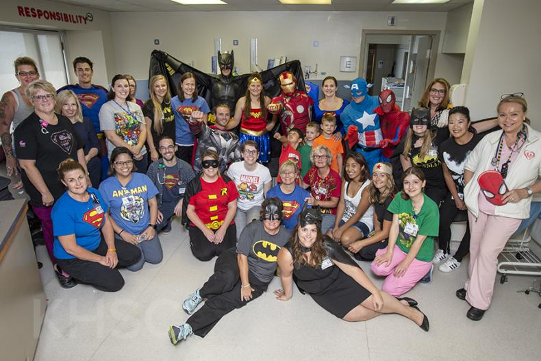 Superheroes visit the KGH site at Kingstion Health Sciences Centre in Kingston Ontario.