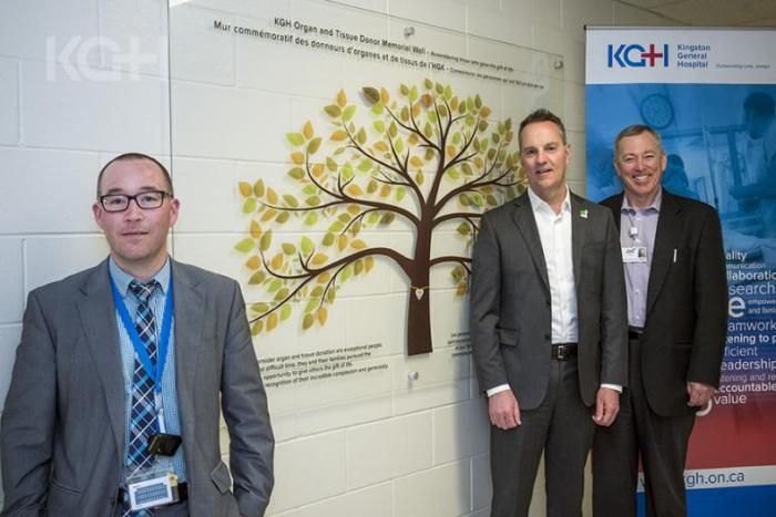 The Organ and Tissue Donor Memorial Wall located in the Kidd 2 hallway of Kingston General Hospital