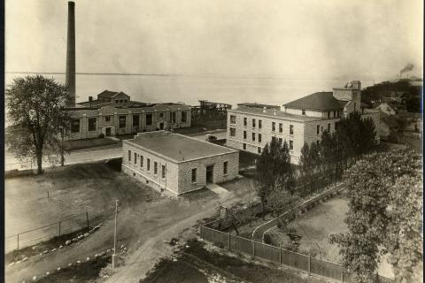 Photo showing the Laundry, Isolation Hospital and Power Plant at KGH - 1930's